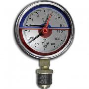 Термоманометр 1/2, ф80, 0-6бар, 0-120град. TIM