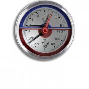 Термоманометры д.1/2, ф80, 0-6 бар, 0-120 град. аксиальный TIM