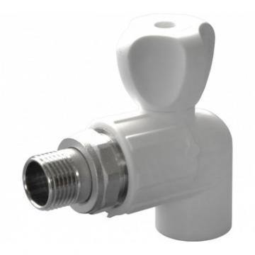 Кран полипропиленовый шаровый для радиатора угловой 20х1/2