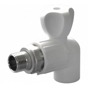 Кран полипропиленовый шаровый для радиатора угловой 25х1/2