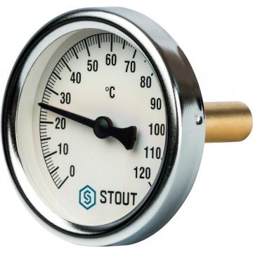 Термометр биметаллический Stout с погружной гильзой