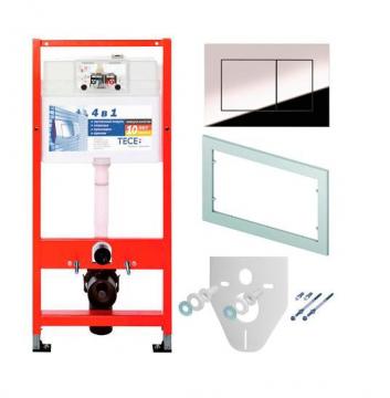 Система инсталляции для унитазов TECE 4 в 1 с кнопкой Ambia (хром) с крепежом и прокладкой