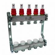 Коллекторный блок (гребенка) для теплого пола с расходамерами Gekon на 9 выходов